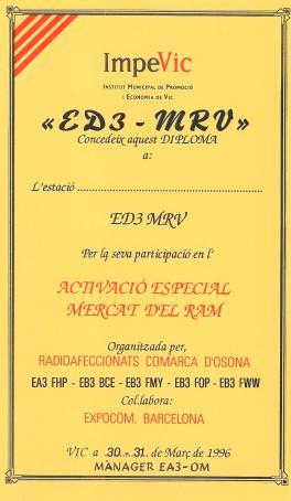 Diploma ED3MRV (Mercat del Ram 1996)