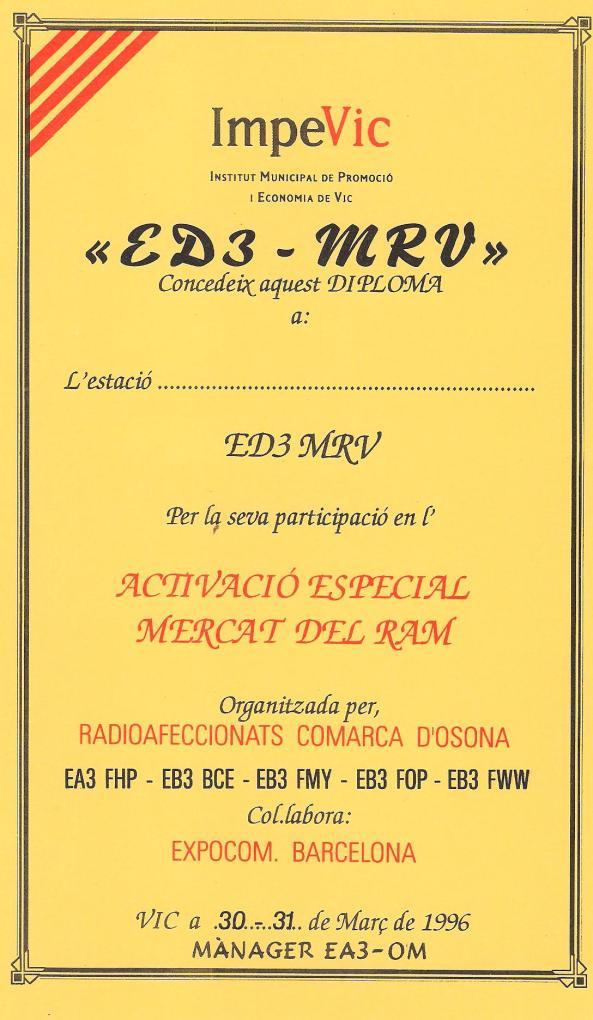 ED3MRV (Mercat del Ram de Vic) - 30 i 31 de març de 1996