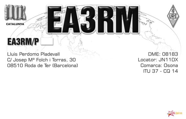 Targeta QSL de l'estació EA3RM