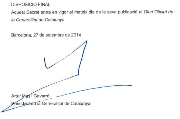 Decret 129-2014, de 27 de setembre, de convocatòria de la consulta popular no referendària sobre el futur polític de Catalunya