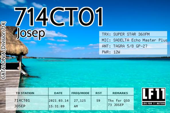 Targeta QSL electrònica de l'estació 714CT01